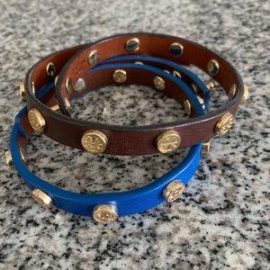 Brown Tory Burch Logo Wrap Bracelet